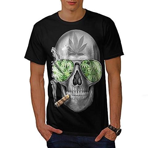 Skeleton Smoke Weed Men L T-shirt | Wellcoda