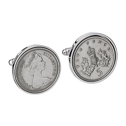 Große englische Manschettenknöpfe mit eindrucksvollen 5 Pence-Münzenaus dem Jahr 1968 als Geschenk zum 50. Geburtstag für Herren -23mm große 5-Pence-Münzen ***