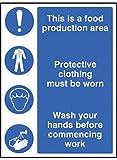 Caledonia segni 25604e alimentare zona di produzione/indumenti protettivi/lavarsi le Mani segno, vinile autoadesivo, 200mm x 150mm