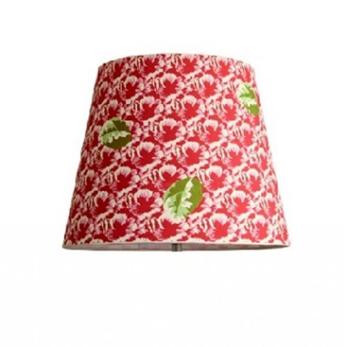 Around The Wall Light Red ABSRLI012-Abat-Jour, motivo Vintage, motivo floreale, in poliestere, tessuto, colore: rosso, 12 x 17 x 13,5 cm