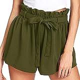 Feitong Damen Shorts - Frauen lässige Elastische Taille heiße Hosen Sommer Shorts Jersey Walking(EU-40/CN-XL, Grün)