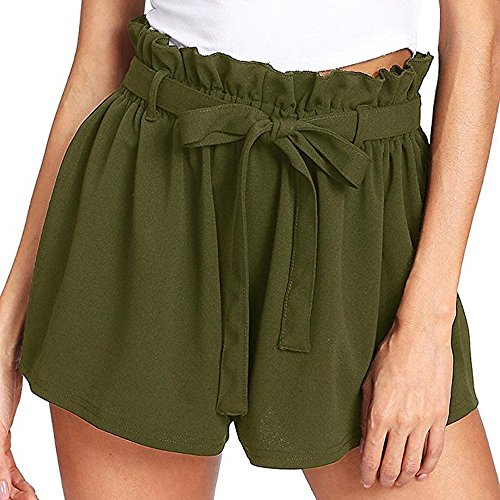 Pantalons Court Femme,SANFASHION Shorts Bermudas Nouveaux Mode Pantacourte Taille Haut Poche Sexy Pantalons Courts été Plage Vert a, XL