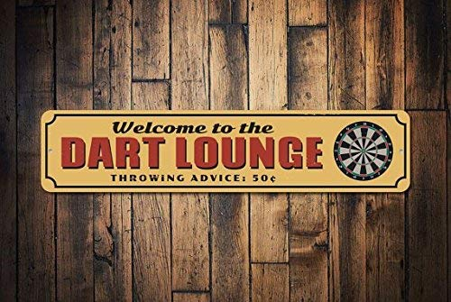 HSSS Dart Lounge Schild Game Room Schild Dartboard Schild Welcome Man Höhle Dekor Metall Dorm Schild Dart Lounge Decor Metallschild 10,2 x 45,7 cm