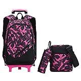 Cartable scolaire à roulettes sac d'école sac à dos à roulettes nylon pour garçon fille (Rose)
