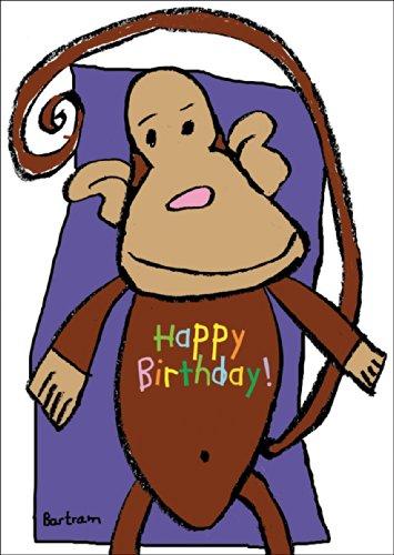 Lustige Geburtstagskarte mit fröhlichem Affen: Happy Birthday • auch zum direkt Versenden mit ihrem persönlichen Text als Einleger.