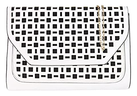 Girly HandBags Faux Leather Perforated Clutch Bag Oversized Laser Cut Elegant Designer Inspired Women -- White