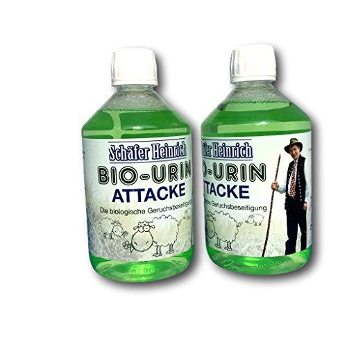 Schäfer Heinrich Bio-Urin Attacke - Die biologische Geruchsbeseitigung   Geruchsentferner für Tiergerüche & Tierurin   500ml 1000ml Auswahl   Made in Germany (2x500ml)