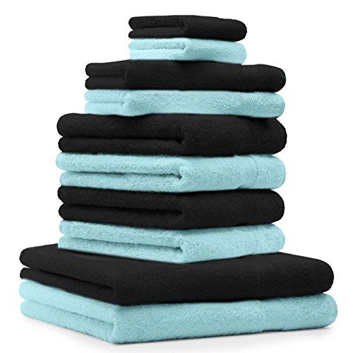 BETZ Lot de 10 serviettes set de 2 serviettes de bain, 4 serviettes de toilette, 2 serviettes d'invité et 2 gants de toilette 100% coton Premium couleur turquoise, noir