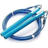 Kylin Sport Comba de velocidadajustable, mangos de aluminio con bolas omnidireccionales, incluye una bolsa de transporte, ideal para crossfit, boxeo y artes marciales, 3m, azul
