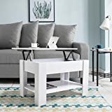 White Lift up Top Coffee Table with storage and shelf for living room