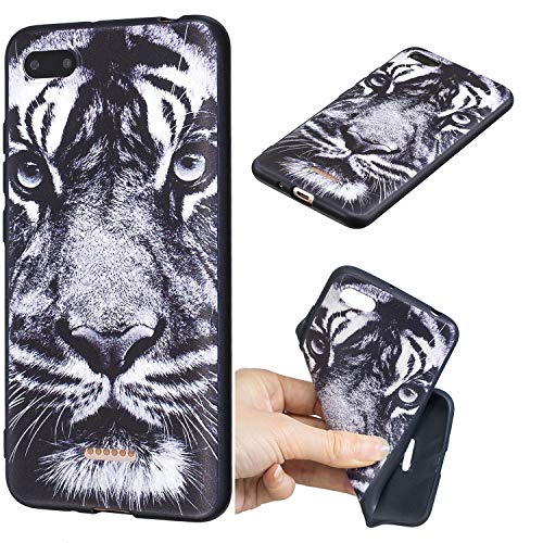 YYhin teléfono Cubierta para Funda Xiaomi Redmi 6A - Magical Pattern Design, Barnizado Scrub TPU Cubierta de Silicona del teléfono[GY10/Tigre Blanco]