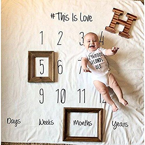 Neugeborene Baby Wickeldecke Monatliche Milestone Fotografie Requisiten Shoots Hintergrund, winmany Baby Geburtstag Fotografie Foto Requisiten Monatliche Alter Decken Kreieren Personalisierter Fotografie
