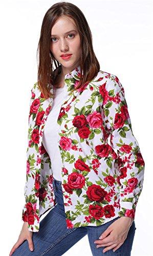 Dioufond Chemise Ajustée Imprimé Floral en Coton Manche Longue avec Bouton. Rouge