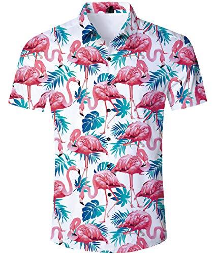 AIDEAONE Männer Flamingos Hawaii Kurzarm-Polo-Shirt Knopf Hemd Urlaub Hemd Plus Größe