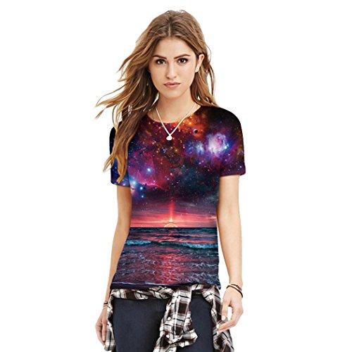 MILEEO Damen Basic T-shirt Skull Schädel Shirt mit Rundhals Klassisch Rundhalsshirt Kurzarm Tops Stil 19