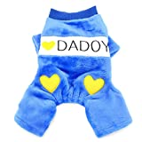 SMALLLEE_LUCKY_STORE  Comfort I Love Daddy Mommy Heart Printed Dog Jumpsuits Fleece, Blue, Large