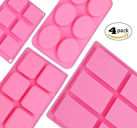 rorkano 4er Pack Silikon Seife Formen Homemade Craft Seife Form Silikon Formen für Kuchen Backen Tart Pudding Plätzchen, Rechteck/Quadrat/Oval/quadratisch
