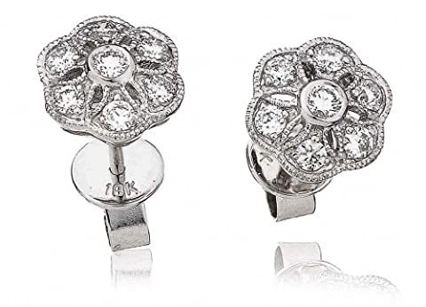 0.35CT Certified G/VS2 Round Brilliant Cut Cluster Flower Shape Diamond Stud Earrings in 18K White Gold