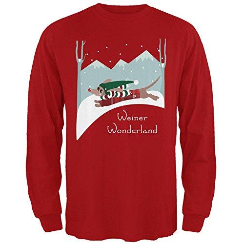 Christmas Dackel Weiner Winter Wonderland Mens Long Sleeve t-shirt red LG (Weiner Dackel)