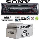 Audi A3 8P Aktiv - Autoradio Radio Sony DSX-A310DAB - DAB+ | MP3/USB - Einbauzubehör - Einbauset