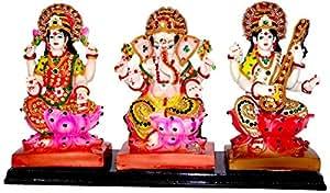 Paras Magic Lakshmi Ganesha Saraswati Idol (Standard,Multicolor)