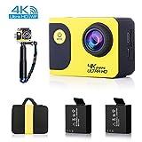 oldshark 4K Wifi Sport Action Kamera, Auto Dash Cam, Ultra HD Wasserdichte DV Camcorder, 20MP Weitwinkel mit 2Akkus, Selfie Stick Tragbare Paket mit Full Zubehör Kits