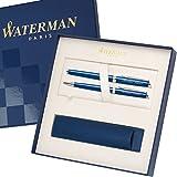 WATERMAN Schreibset HEMISPHERE Essential Blau C.C. mit Gravur Tintenroller und Kugelschreiber mit großem Geschenk-Etui