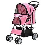 [pro.tec] Passeggino per cani rosa Pet Stroller Buggy per cani protezione pioggia Roadster