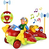 GotechoD Voiture télécommandée, Jouet Avion Radiocommandée RC Voiture avec Musique et lumière,Cadeau Parfait bébé Filles garçons pour Anniversaire Noël Nouvel an(Vert)