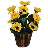 #9: Fancymart Artificial Flower Sunflower bunch (28 cm/ 11 inchs) in Wood round big pot-1881