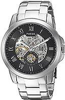 Fossil Grant - Reloj automático con correa de chapada en acero inoxidable para hombre, color plata/negro de FOX84