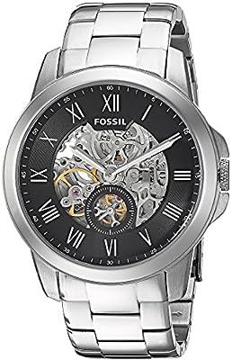 Fossil Grant - Reloj automático con correa de chapada en acero inoxidable para hombre, color plata/negro