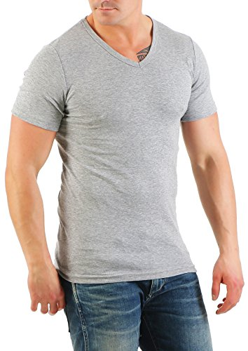 2er Pack Herren T-Shirt mit V-Ausschnitt Nr. 446/1500 ( Grau-Weiß / XXL ) - 3
