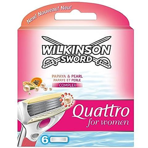 Recharges Lames de Rasoir Wilkinson Sword Quattro pour femmes–Lot de 6