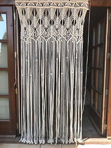 Cortina de macrame de cuerda de algodón - color crudo