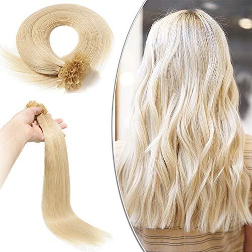 Extension capelli veri cheratina biondo 100 ciocche - 40cm 50g #60 biondo platino - 100% remy human hair u tip nail hair naturali lunghi lisci