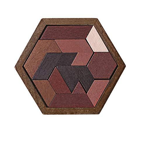 VIPECO urable Geometric Abnormity Shape Puzzle Kids Wood Tangram Jigsaw Board Toys (1) Material: Wood