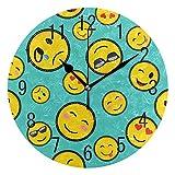 Domoko Home Decor Farbe Emoji Smiley, Acryl, Rund Wanduhr Geräuschlos Silent Uhr Kunst Wohnzimmer Küche Schlafzimmer