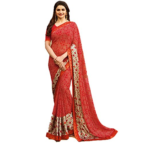 Women Fashion PartyWear Bollywood Designer Georgette Saree with Blouse Banglori Silk (Red)