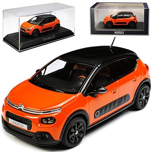 Norev Citroen C3 Orange mit Schwarzem Dach 3. Generation Ab 2016 1/43 Modell Auto mit individiuellem Wunschkennzeichen - Citroen Modell