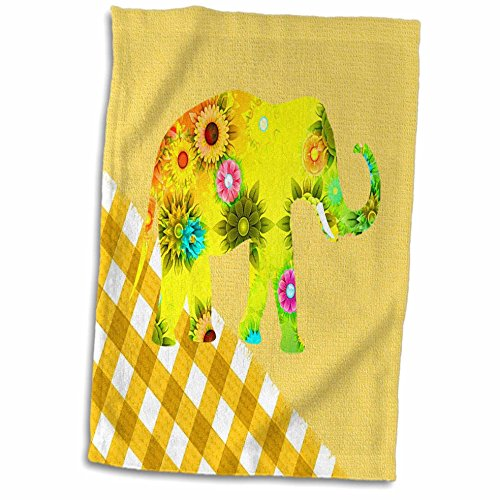 3dRose Imagen Floral Elefante Sobre Plaid Toalla Amarillo, 15 x 22 Pulgadas