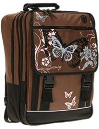 Preisvergleich für FABRIZIO ® BUTTERFLY BEAUTY Schulrucksack Rucksack Schmetterling / BROWN Pink