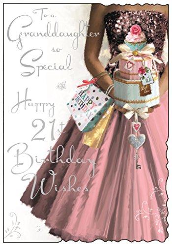 Grußkarte (jj3644) Geburtstagskarte für Enkelin 21. Geburtstag–Geburtstagskarte für Enkelin 21. Geburtstag in rosa Kleid–Folie und Flatterndes Finish (Mädchen Glitzernden Kleid)