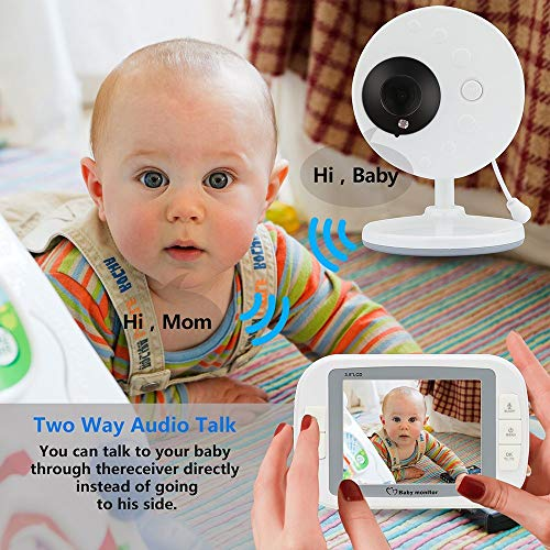 """Wireless Video Baby Monitor With Robot Camera 3.5"""" Large LCD Digital Screen Display Night Vision,Two Way Talk Audio, Temperature Sensor,Night Vision, Lullabies And Long Transmission Range  UHSDFU"""