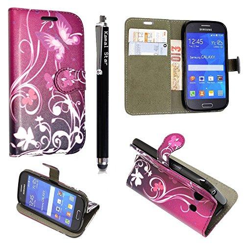 Funda para Samsung Galaxy J3 2016 , Kamal Star® Funda Cuero PU Billetera Folio Carcasa, [Stylus Libre] Piel Case Cover con Soporte Plegable para Samsung Galaxy J3 2016 (Butterfly Purple Book)