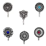 #1: Om Jewells Silver Oxidise Jewellery Combo of 6 Designer Nosepin/Nosering for Girls and Women CO1000175