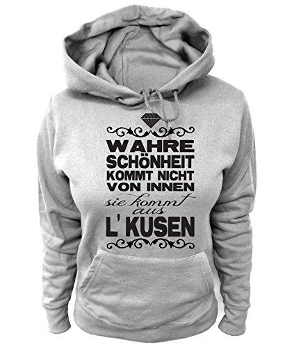 Artdiktat Damen Hoodie - Wahre Schönheit Kommt Nicht von Innen - Sie Kommt Aus Leverkusen Größe L, Grau