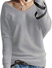 0c9d0c4f7179 Shallgood Damen Mode Kaschmir Sexy Langen Ärmel V Ausschnitt Fledermaus  Flügel Herbst Und Winter Pullover Casual