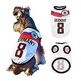 SymbolLife Hunde Trikot Fußball Jersey T-Shirt für Hunde Katzen Kostüme Haustier Weltmeisterschaft Weihnachtsmannkostüm Kleidung Haustierhundekleidung Deutschland (M, Weiß)