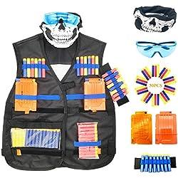Oxsaytee Gilet Tactique pour Nerf Guns, L'Enfants N-Strike Elite Series-Masques, 2 Chargeurs de 6fléchettes, Lunettes de Protection, Bande de Poignée, 30 Fléchettes pour Nerf Combat d'imitation